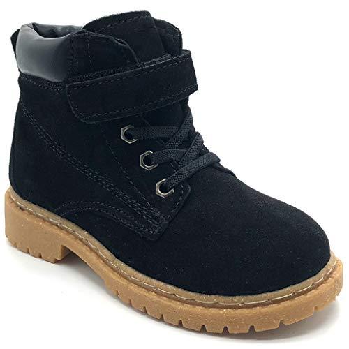 Kinder Winterschuhe Jungen Mädchen Winterstiefel Winter Warm gefütterte Leder Stiefel Martin Boots Schuhe Schwarz 29 EU = 30 CN