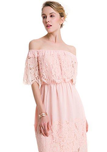 YueLian Vestito Senza Spalline Donna Pizzo Abito Pink