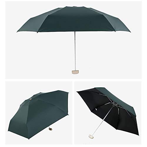 Qianrunhe - mini ombrello tascabile da uomo, antivento, pieghevole, compatto verde scuro dark green 19