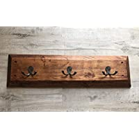 Chunky, rustic style 3 hook wall mounted coat rack