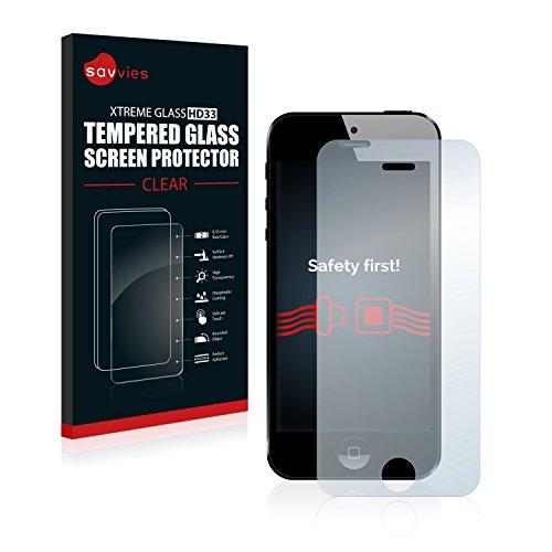 Savvies Panzerglas für Apple iPhone 5 Glasfolie Panzerfolie Schutzfolie - Klar, 9H Hartglas