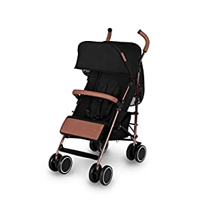 Ickle Bubba Baby Discovery Stroller  Lightweight Stroller Pushchair   Compact Fold Technology for Easy Transport and Storage   UPF 50+ Extendable Hood   Black/Rose Gold   6