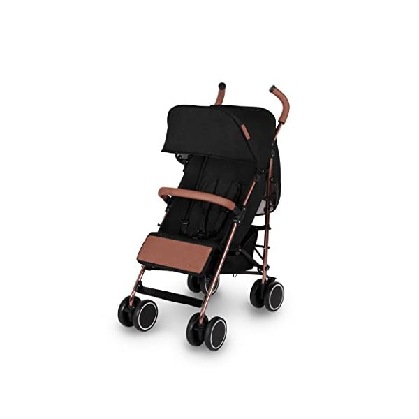 Ickle Bubba Baby Discovery Max Stroller| Lightweight Stroller Pushchair | Compact Fold Technology for Easy Transport and Storage | UPF 50+ Extendable Hood | Black/Rose Gold Ickle Bubba ONE-HANDED 3 POSITION SEAT RECLINE: Baby stroller suitable from 6 months to 22kg. 4 years old; features luxury soft quilted seat liner, footmuff, cupholder, and rain cover UPF 50+ RATED ADJUSTABLE HOOD: Includes a peekaboo window to keep an eye on the little one; extendable hood-UPF rated-to protect against the sun's harmful rays and inclement weather LIGHTWEIGHT DESIGN WITH COMPACT FOLD TECHNOLOGY: Easy to transport, aluminum frame is lightweight and portable-weighs only 7kg; folds compact for storage in small places; carry strap and leather shoulder pad included 3