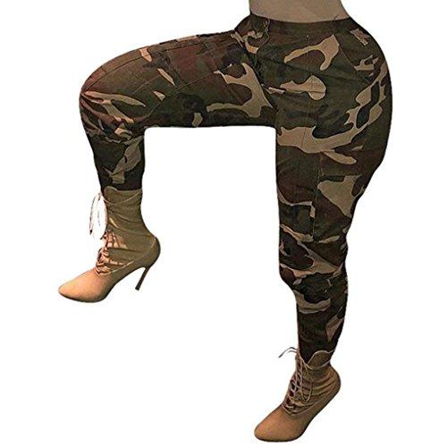 Minetom Damen Sporthose Hosen Outdoor Mode Camo Cargo Casual Camouflage Leggings Sweatpants Sommer Herbst Trouser Gelb Medium -