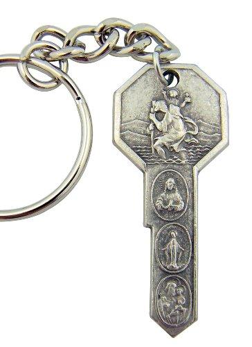 keyring Porte-clés Saint Christophe. ST Christophe et Saints. 'en forme de clé Porte-clés. Saint Chrsitopher