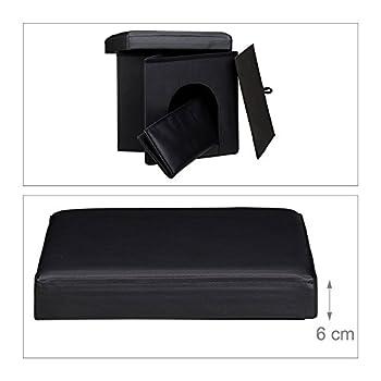 efaconcept chien Boîte HBT 38x 38x 38cm Tabouret stable Siège cube avec panier pour chien et chat en simili cuir et couvercle pour enlever pratique pour votre intérieur noir