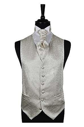 "Mens Ivory Scroll Wedding Waistcoat and Ivory Scroll Cravat (34"")"