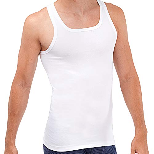 ASCOT Herren Unterhemd 5er Pack I Basic Tank Top aus 100% Baumwolle ohne Seitennähte I Herren Achselhemd in Feinripp Qualität I Weiß I Größe 6 (L)