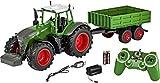 Carson 500907314 500907314-1:16 RC Traktor mit Anhänger 100% RTR, Ferngesteuertes Fahrzeug, Baufahrzeug mit Funktionen Licht und Sound, inkl. Batterien und Fernsteuerung, grün