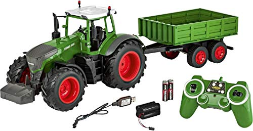 Carson 500907314 - 1:16 RC Traktor mit Anhänger 100{39ab85e0998b118cda8325e92fd437dc010b59bea05c160511178e1290171ad3} RTR, Ferngesteuertes Fahrzeug, Baufahrzeug mit Funktionen Licht und Sound, inkl. Batterien und Fernsteuerung, grün
