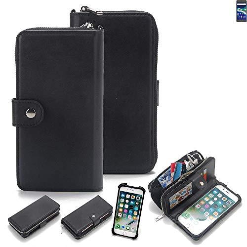 K-S-Trade 2in1 Handyhülle für General Mobile GM 6 Schutzhülle & Portemonnee Schutzhülle Tasche Handytasche Case Etui Geldbörse Wallet Bookstyle Hülle schwarz (1x)