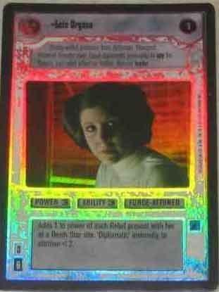 star wars decipher ccg - leia organa black border limited edtion super rare foil!