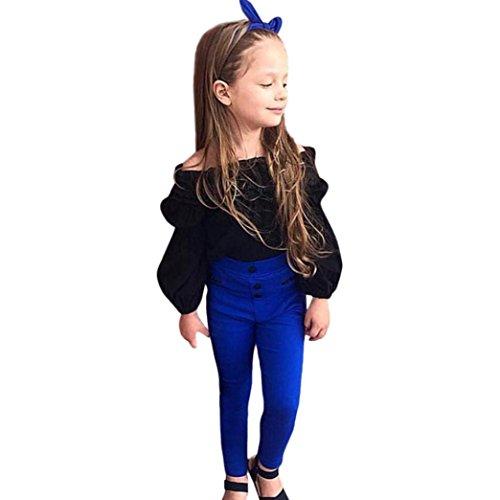 Amlaiworld Mädchen Mode Trägerlos Langarmshirt + blau Hose Kleinkind Prinzessin pullis Kleidung Set,0-5 Jahren (Schwarz, 2 Jahren)