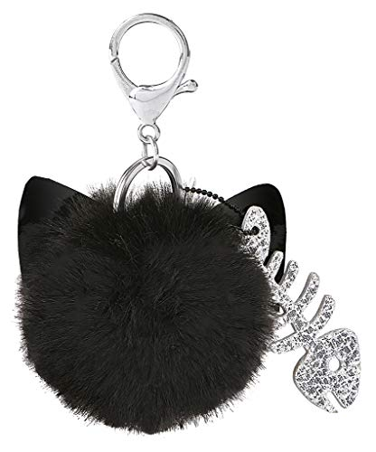 moses. Ed, The Cat Schlüsselanhänger | Puschel Anhänger mit Schlüsselring und Karabiner | aus Kunstfell Schlüsselanhänger, 10 cm, Schwarz