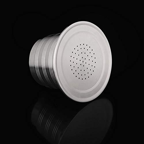 NanXi Kaffeepads Wiederverwendbare, Nachfüllbare Kaffeekapsel aus Edelstahl Wiederverwendbare Kaffeepads mit Löffel, kompatibel für-Maschinen,Silber