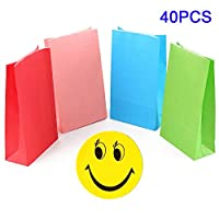 Hotupark 40 Pcs Paper Bags Party Treat Bags for Kids with 90 Smiling Face Stickers,Gift Bags for Birthday,Wedding,Chirstmas Party Favor