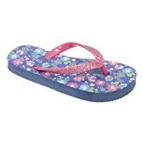 Floso® Childrens/Girls Floral Toe Post Flip Flops with Glitter Strap
