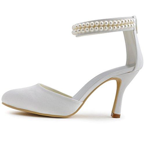 Elegantpark AJ3065 Satin Stiletto Runde Geschlossene Zehen Perlen Ketten Rei?verschluss Pumps Damen Hochzeit Brautschuhe Elfenbein(Ivory)