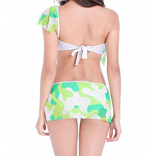 Meijunter Schulter Lotus Blatt Seite Bikini Set Atmungsaktiv Badeanzug BH  Bademode Unterwäsche Green