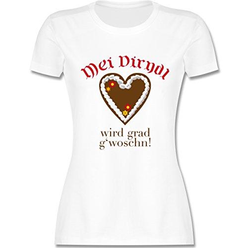Oktoberfest Damen - Dirndl wird g'woschn - Shirt statt Dirndl - tailliertes Premium T-Shirt mit Rundhalsausschnitt für Damen Weiß