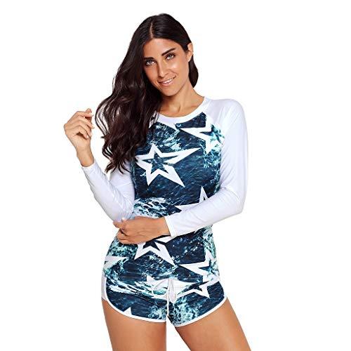 EUCoo_ Wetsuit Damen Bademode Sexy Europa und Amerika Klassische Persönlichkeit Print Langarm UV-Schutz 2 Stück Set Surfkleidung(XXXL)