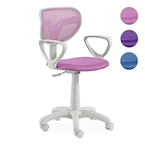 Adec - Touch, Silla de escritorio giratoria, silla juvenil de oficina, color Rosa, medidas: 54 x 93-109 cm de altura
