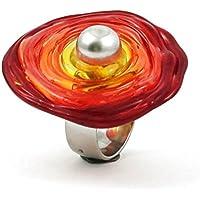 Verstellbarer Edelstahl-Ring (Grösse 16-21) mit Scheibe aus Murano-Glas in Rot-Tönen, Glas-Schmuck, Wechsel-Ring, Unikat, personalisiert, Geburtstagsgeschenk, zauberhaftes Ostergeschenk