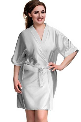 Nine X Damen Morgenmantel Gr. 50, silber (Dressing Gown Silk)