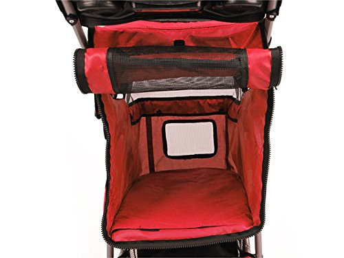 Bc-elec 5663-0015Ared Tier-Buggy mit 3 Rädern Hundebuggy, Farbe rot