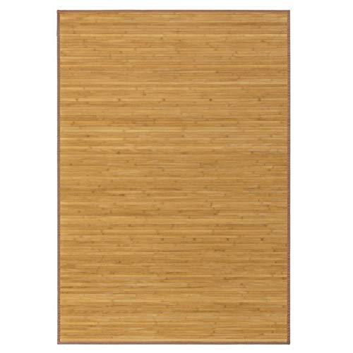 Alfombra de Salón o Comedor, Marrón de Bambú Natural 140 X 200 cm Natur, 140x200 - Hogar y Más