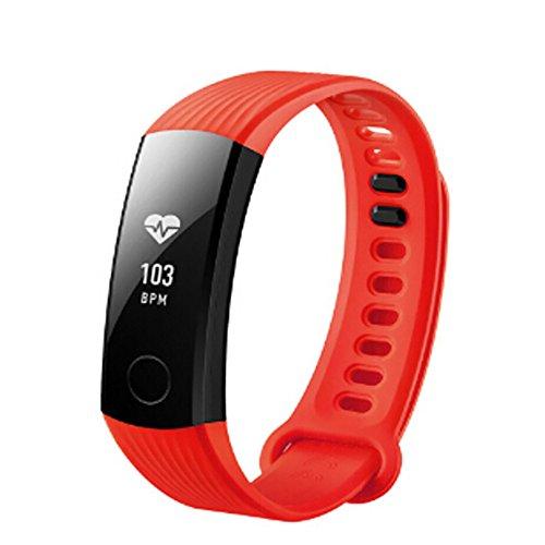 JiaMeng Banda de la Correa de la Pulsera del silicón Deportes de la Manera para el Reloj Elegante de Huawei Honor 3(Rojo)