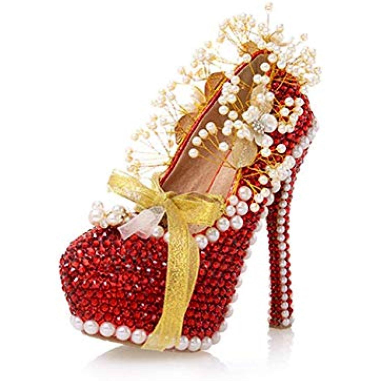ZHRUI Cristaux de Dames perlant perlant perlant des Pompes de Plate-Forme cachée de mariée (coloré : Red-14cm Heel, Taille : 6... - B07JZ9CGGN - ce3487