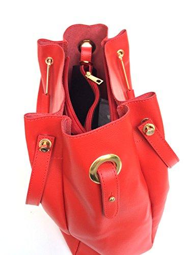 SUPERFLYBAGS Borsa Secchiello Donna in vera pelle Palmellata modello Manuela Triplo Manico Made in Italy Rosso