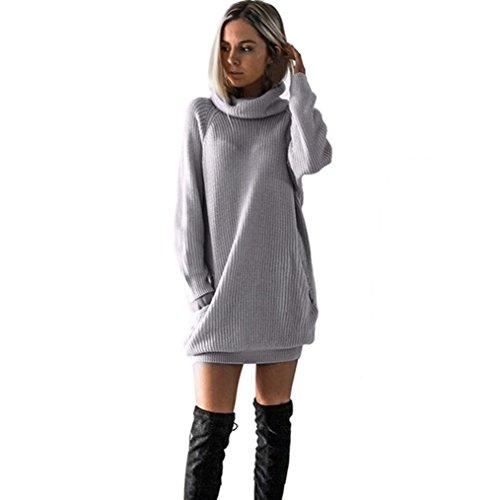OVERDOSE Damen Strickkleid Roll Neck Jumper Kleid Damen Lang Shirt Lange Ärmel Bluse Mini Dress ()