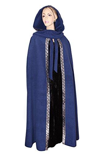 Mittelalterlicher Fleece Umhang mit Borte - wärmend - blau L130 (Gugel, Poncho)