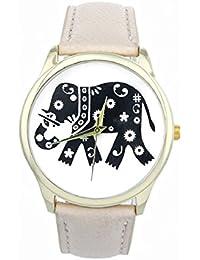 Culater® Patrón Mujeres elefante Impresión de cuero tejida relojes de cuarzo (Beige)