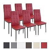 Albatros Esszimmerstühle RIMINI, 6-er SET Rot, SGS gestestet, Sitzgruppe
