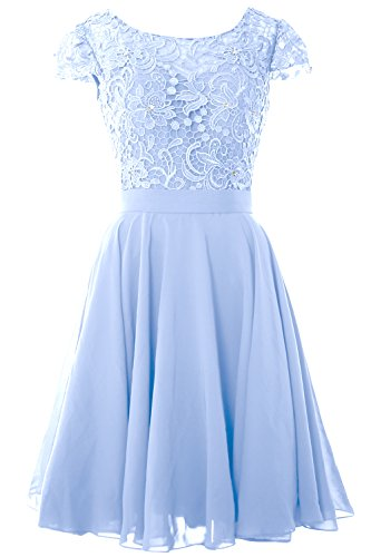 MACloth Women Lace Wedding Party Gown Cap Sleeve Short Mother of The Bride Dress (EU38, Sky Blue) Womens Sky Blue Cap