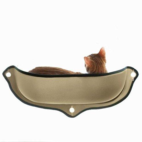 Winnii Katze Hängematte Fenster montiert Cat Bett Hängematte Sofa Matte Kissen Hängeregal Sitz mit Saugnapf, Braun -