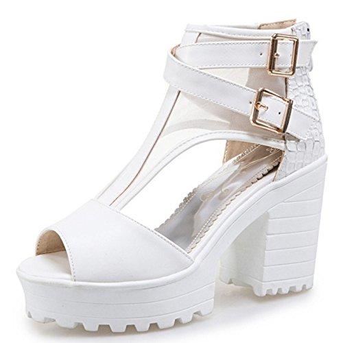 De Bloco Zipper Com Coolcept Tornozelo Moda Salto Sapatos De Peep Do Mulheres Toe Das Sandálias C7gdxBqwB