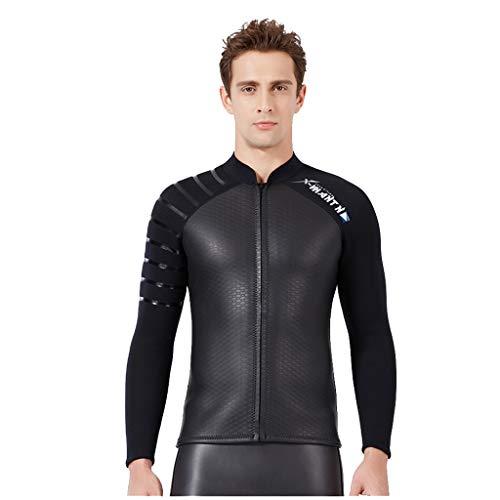 Eucoo Herren Marke Tauchanzug Tops Jacke Uv-Schutz Warmen Tauch Badeanzug Surfbekleidung 3mm(Schwarz, XXL)
