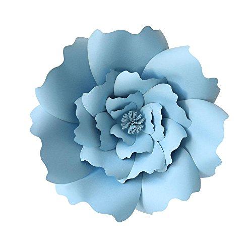 KOBWA Große Papierblumen, DIY Handarbeit Papier-Blumen Dekorationen für Wand, Hochzeit/Kinderzimmer Fotografie Blumen Hintergrund Geburtstag, Party, Babyparty und Outdoor-Dekoration blau