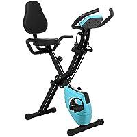 Profun Bicicleta Estática 2 en 1 Plegable Xbike de Fitness con Respaldo/Bandas de Brazo/Pantalla LCD/App 10 Niveles Resistencia Magnética Ajustable para Ejercicio Entrenamiento en Casa, Negro