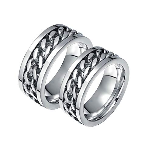 Aeici Ring Damen Breit Verlobungsringe Edelstahl Spinner Kettenblatt Breit 8Mm Silber Frau 60 (19.1) + Mann 62 (19.7) -