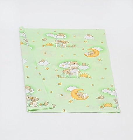 Taie housse de couette édredon env.120x90 parure de lit literie pour bébé enfant (dessin: nounours dans le ciel_vert)