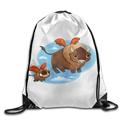fengxutongxue Buffalo Wings Gym Drawstring Backpack Unisex Portable Sack Bags Pony City Wings