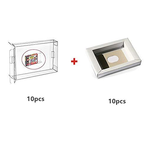 WiCareYo 10Pcs Karton-Wiedereinbau inneres Einlegeeinsatz Behälter für PAL u. NTSC Super SNES CIB Spiel-Patrone & 10PCS Clear Box Hülse für SNES N64 Spiele Cartridge Box (Super Nintendo Spiel-patronen)