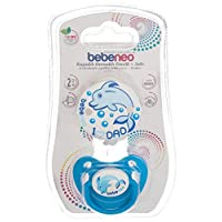 Bebeneo Orthodontic Soother With Cover and Holder (2 In1), Blue