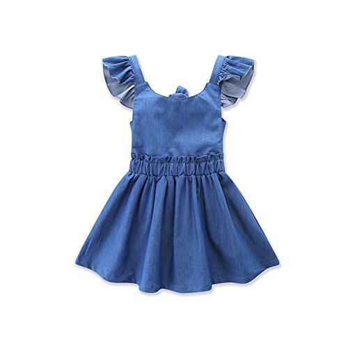 SCFEL Mädchen Kinder Backless Rüsche Jeans Kleid Kleinkind Röcke Tutu Kleid (2-3 Jahre)