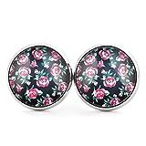 SCHMUCKZUCKER Damen Ohrstecker Vintage Rosen Modeschmuck Ohrringe silber-farben schwarz 14mm